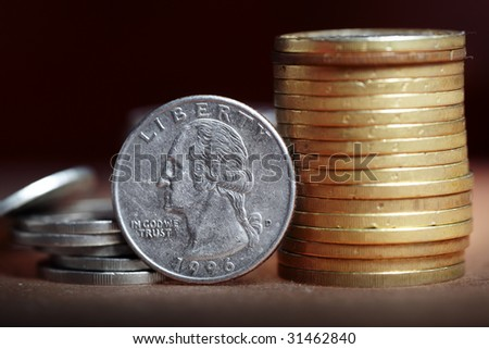 Macro photo of the US dollar coin