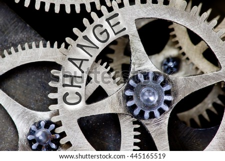 Macro photo of tooth wheel mechanism with CHANGE concept letters - stock photo