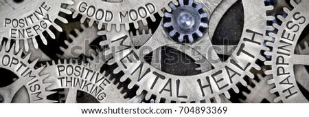 Macro photo of tooth wheel mechanism with MENTAL HEALTH, HAPPINESS, GOOD MOOD, POSITIVE THINKING, POSITIVE ENERGY and OPTIMISM letters imprinted on metal surface