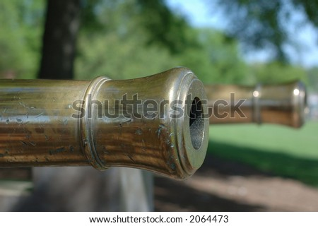 macro photo of two bronze cannons - stock photo
