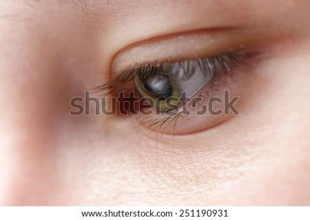 macro photo of young girl eye - stock photo