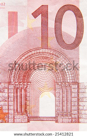 Macro photograph of a ten euro note. - stock photo