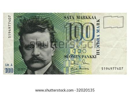 Macro photograph of hundred Finnish Marks note. - stock photo