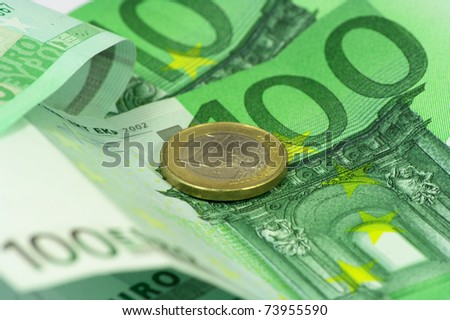 Macro photography of euro money.