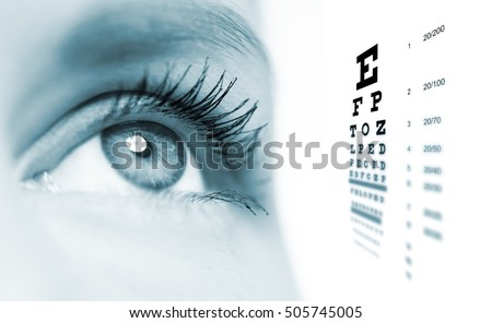 Macro picture of female eye with vision test chart on background. Eye care, eye test, ophthalmologic disease check and treatment.