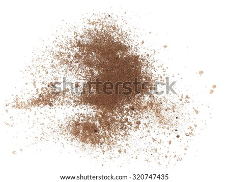 macro pile dirt isolated on white background, with clipping path