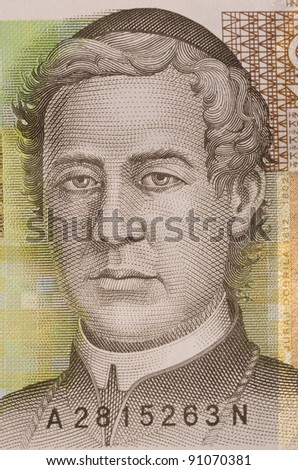 macro portrait of Juraj Dobrila in 10 kuna croatian banknote