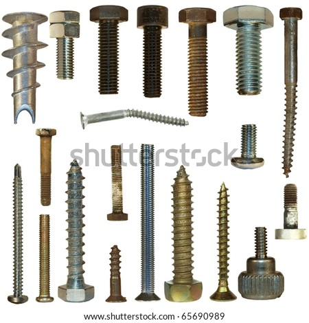 Macro screw heads, bolts isolated on white background - stock photo