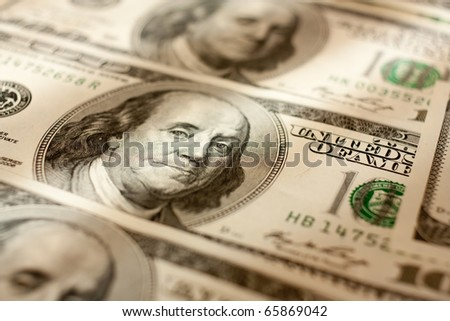 Macro shoot of dollar. Shallow focus. - stock photo
