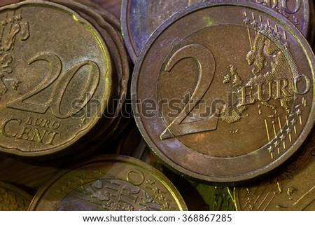 macro shoot of  Euro coins - stock photo