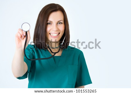 Macro shoot of medical person for health insurance - stock photo