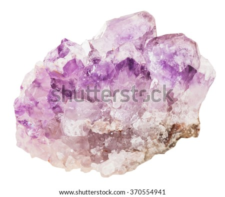 macro shooting of collection natural rock - crystals of amethyst mineral gemstone isolated on white background - stock photo