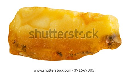 macro shooting of natural gemstone - pebble of rough amber mineral gem stone isolated on white background - stock photo
