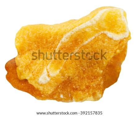 macro shooting of natural gemstone - specimen of raw amber mineral gem stone isolated on white background - stock photo