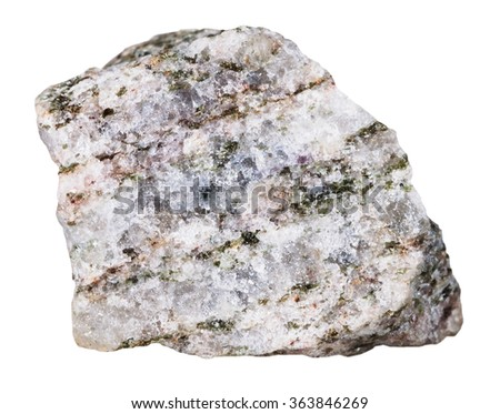 macro shooting of specimen natural rock - Apatite mineral stone isolated on white background