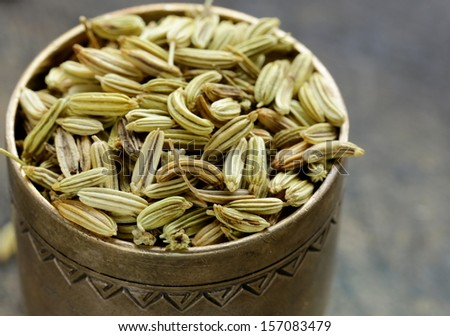 macro shot fennel seeds, aromatic spice  - stock photo