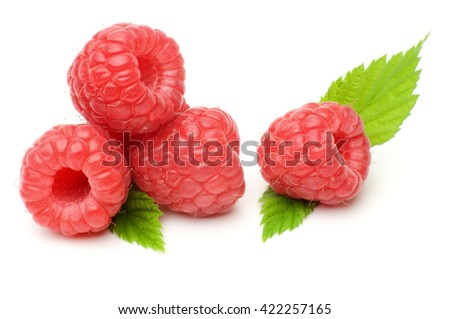 Macro shot fresh raspberries and leaves isolated