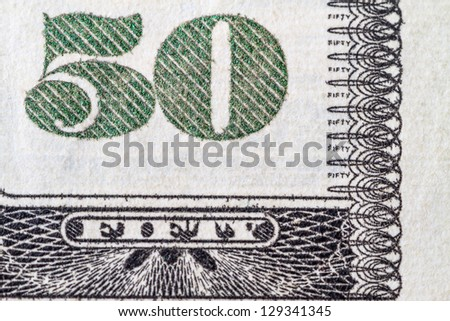Macro shot number 50 on the US  dollar