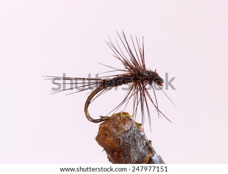 Macro shot of a black tiny dry fly fishing lure used for trout fishing - stock photo