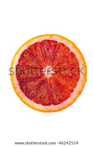Macro shot of a blood orange isolated on white. A clipping path is provided for easy extraction. - stock photo