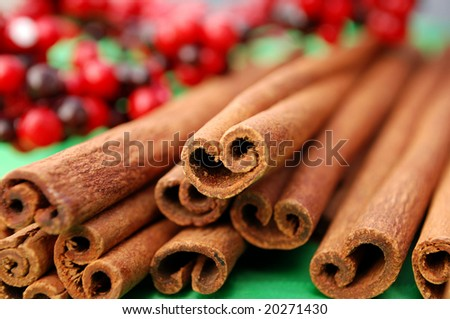 Macro shot of a bunch of cinnamon sticks - stock photo
