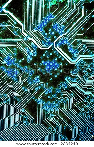 Macro shot of a circuit board, retouched for grungy effect - stock photo