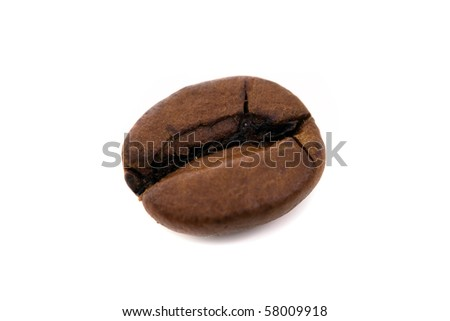 macro shot of a coffee bean, isolated on white
