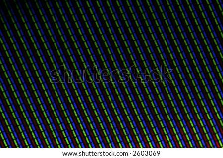 Macro shot of a CRT TV screen creating interesting patterns and shades - stock photo