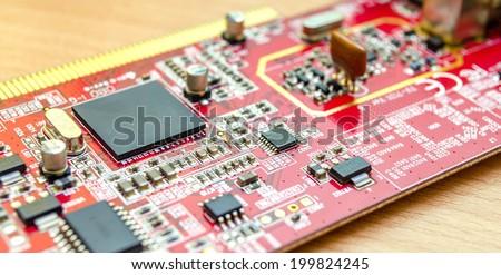 Macro shot of a dirty circuit board  - stock photo