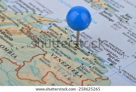 Macro shot of a map showing the city of  Caracas the capital of Venezuela - stock photo