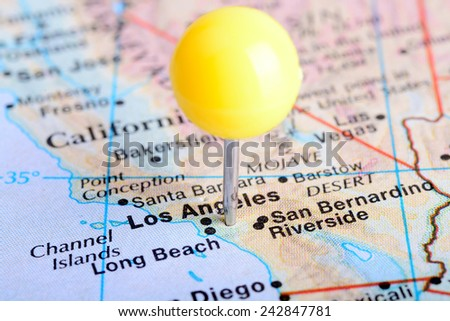 Macro shot of a map showing the city of Los Angeles, California. - stock photo
