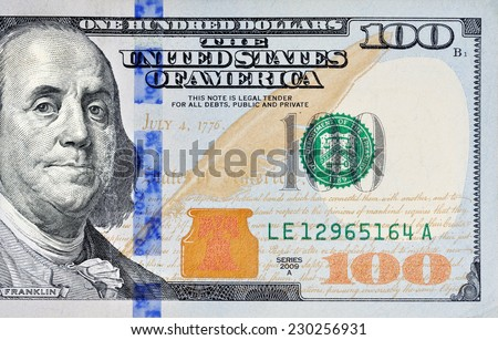 Macro shot of a new 100 dollar bill - stock photo