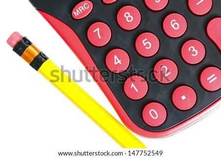 MAcro shot of a pencil and a calculator isolated on white - stock photo