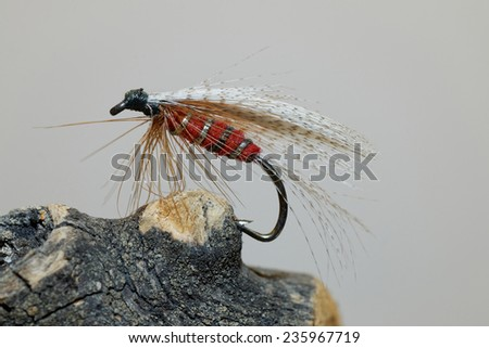 Macro shot of a red fly fishing lure - stock photo