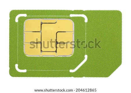 Macro shot of a SIM card against white background. - stock photo