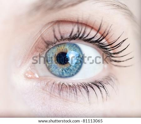Macro shot of a woman's eye - stock photo