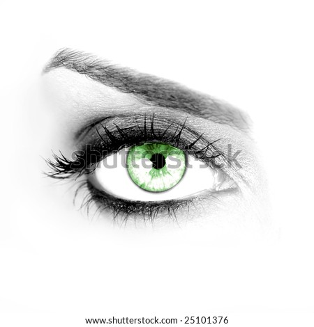Macro shot of a woman's green eye - stock photo