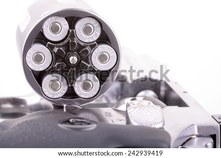 Macro shot of an open revolver loaded with bullets - stock photo