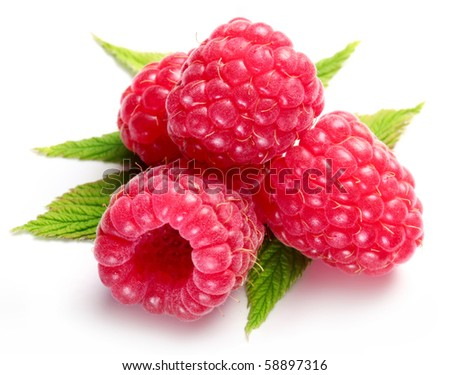 Macro shot of appetizing raspberries over white. - stock photo