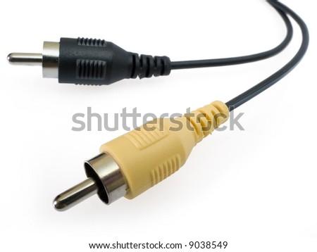 Macro shot of audio/video RCA connection plug. - stock photo