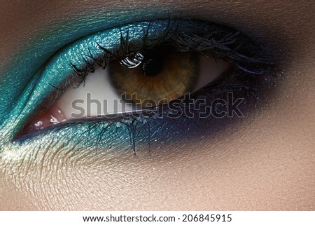 Macro shot of beautiful woman's face part. Wellness, cosmetics and make-up - stock photo