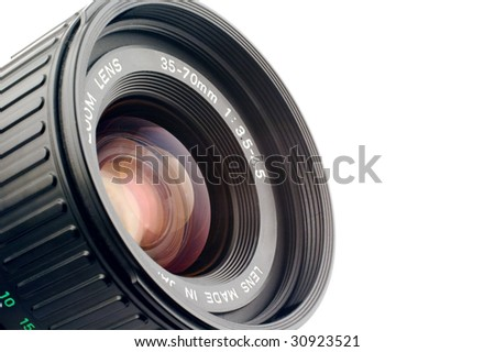 Macro shot of camera lens isolated on white. Copy space.