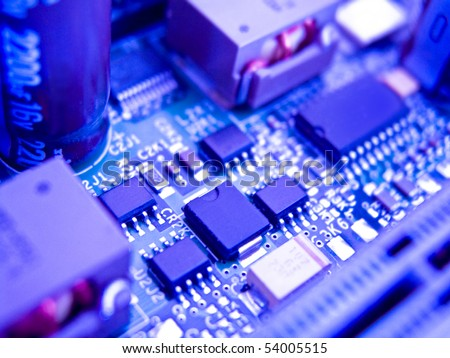 Macro shot of circuit board with elements