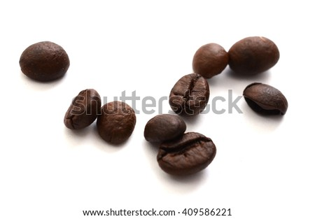 macro shot of coffe bens, isolated on white