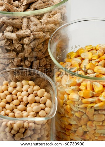 macro shot of corn, soybeans and wood pellets in glass beakers - stock photo