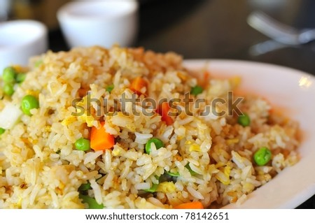 Macro shot of delicious Asian vegetable rice cuisine. - stock photo
