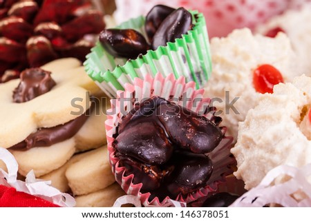 macro shot of different types of delicious christmas pastry - stock photo
