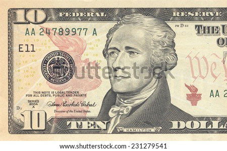 Macro shot of 10 dollar bill - stock photo