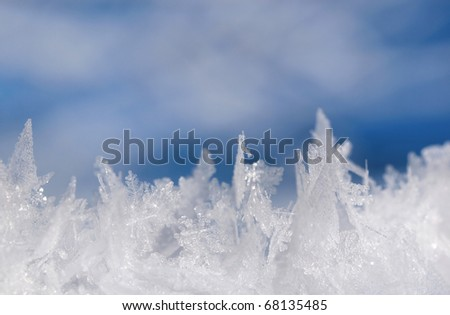 Macro shot of frost snow - stock photo