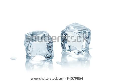 Macro shot of ice cubes on wet background - stock photo